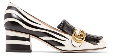 Gucci - Two-tone Fringed Leather Pumps - Zebra print