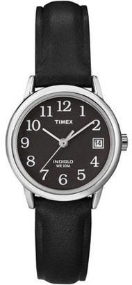 Timex Women's Easy Reader Black Leather Strap Watch