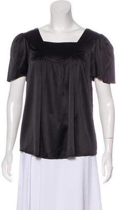 Miguelina Silk-Blend Short Sleeve Top
