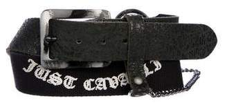 Just Cavalli Leather And Woven Distressed Belt