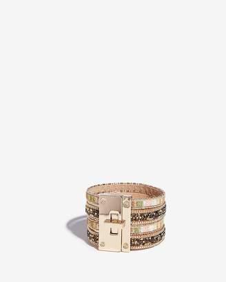 Express Stripe Stone Turnlock Cuff Bracelet