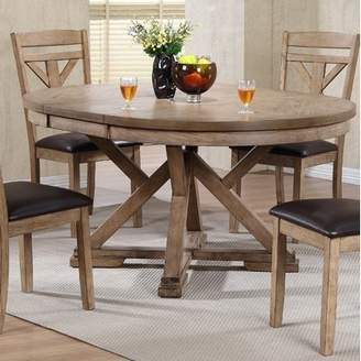 Gracie Oaks Carnspindle Round Butterfly Leaf Dining Table