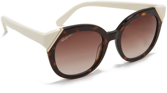 Salvatore Ferragamo Colorblock Sunglasses $326 thestylecure.com