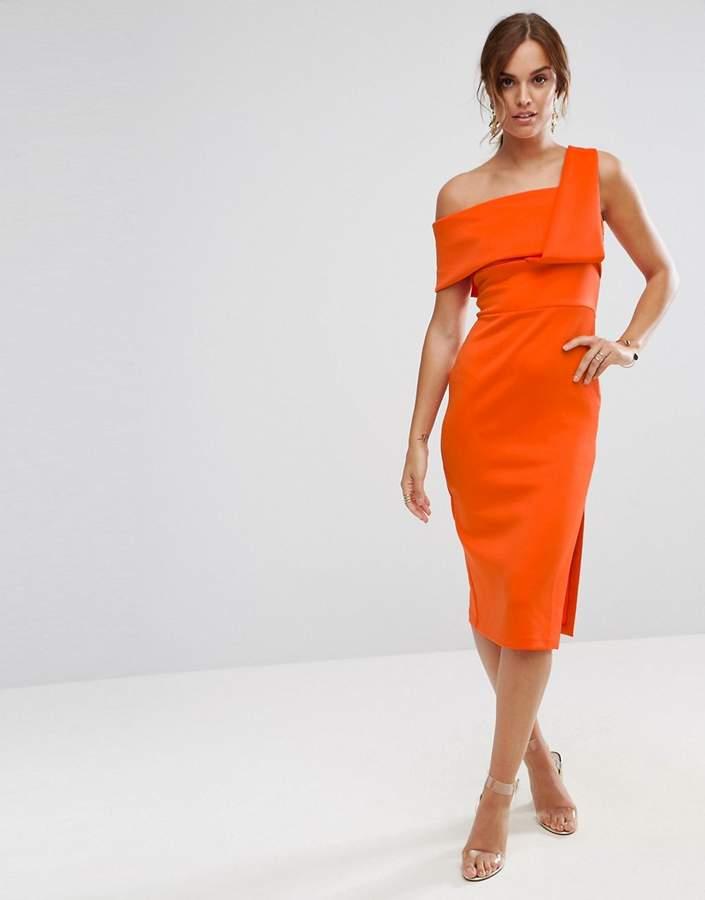 Design One Shoulder Fold Scuba Pencil Dress