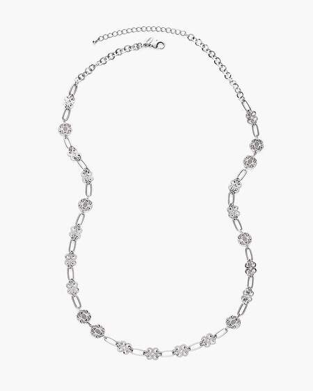 Silver-Tone Textured Single-Strand Necklace