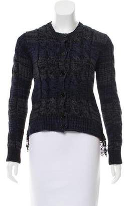 Prada Crochet-Trimmed Cable Knit Cardigan