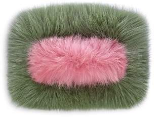 Charlotte Simone Candy Color-Block Fox-Fur Clutch