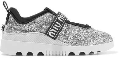 Miu Miu - Logo-embroidered Glittered Neoprene And Rubber Sneakers - Silver