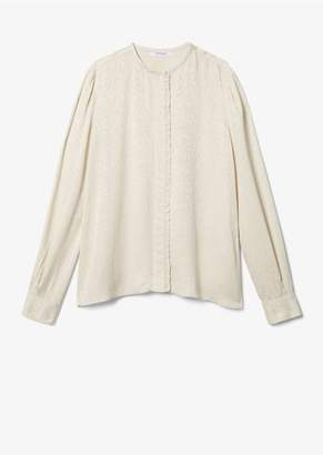 Derek Lam 10 Crosby Long Sleeve Snake Satin Blouse With Ruffle Detail Placket