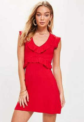 Missguided Red Short Sleeve Tea Dress