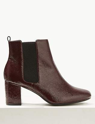 Marks and Spencer Wide Fit Patent Leather Chelsea Ankle Boots