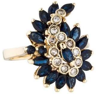 Ring 14K Sapphire & Diamond Paisley Motif
