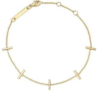 Chicco Zoë 14K Yellow Gold Vertical Tiny Pavé Diamond Bar Bracelet