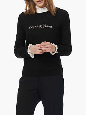 Brora Embroidered Typography Merino Jumper, Black
