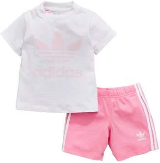 adidas Baby Girls Shorts And Tee Set - White/Pink