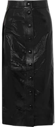 Patent-leather Midi Skirt - Black