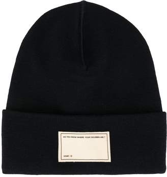 Oamc front patch knitted beanie
