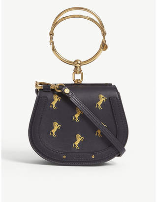 Chloé Ladies Full Blue Modern Nile Horse Leather And Suede Cross-Body Bag