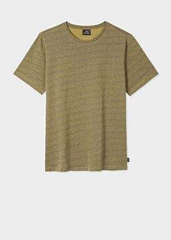 Paul Smith Men's Ochre And Petrol Blue Flecked Cotton T-Shirt