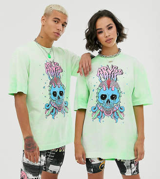 Collusion COLLUSION Unisex tie-dye faded neon t-shirt with print