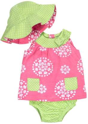 Gerber Baby Girl Dress, Diaper Cover & Reversible Hat, 3-piece Set