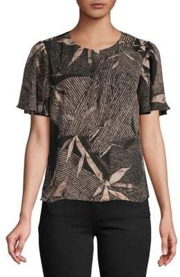 Halston H Short-Sleeve Overlay Top