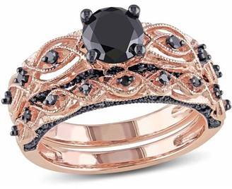 Black Diamond Asteria 1-3/8 Carat T.W. 10kt Rose Gold Bridal Ring Set