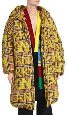 Burberry Graffiti Check Long Puffer Coat