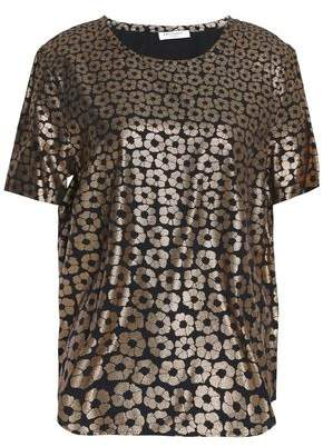 Equipment Printed Metallic Silk Top