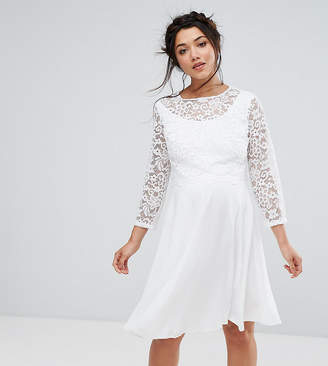 Queen Bee Maternity Lace Overlay Midi Dress