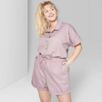 Wild Fable Women's Plus Size Short Sleeve Button Front Utility Romper - Wild Fable