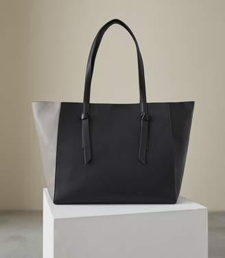 Reiss KATE LEATHER TOTE BAG Grey/black
