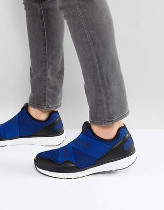 Armani Jeans Crossover Logo Knitted Sneakers in Blue