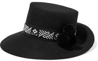 Yosuzi - Moctezuma Pompom-embellished Beaded Rabbit-felt Fedora - Black $480 thestylecure.com