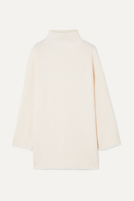 Co Oversized Button-embellished Ribbed Wool And Cashmere-blend Turtleneck Sweater - Ivory