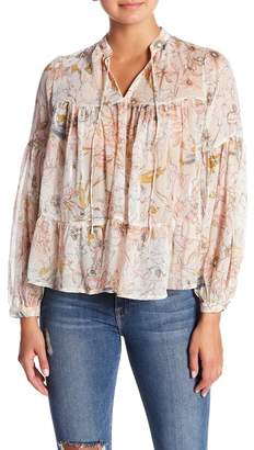Lucky Brand Floral Print Peasant Blouse