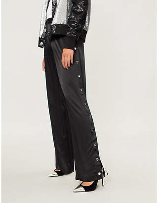 Good American Popper-fastened wide-leg satin trousers