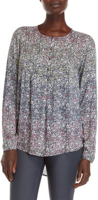 Chelsea & Theodore Floral Pleated Front Blouse