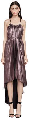 BCBGMAXAZRIA Valarie Metallic Asymmetrical Halter Gown