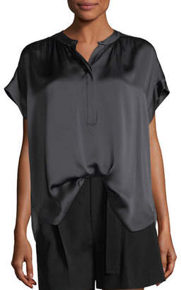 Vince Button-Placket Short-Sleeve Silk Satin Blouse