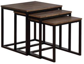 "Alaterre Furniture Arcadia Acacia Wood 24"" Square Nesting End Tables, Antiqued Mocha"