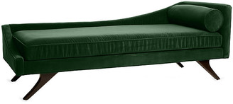 One Kings Lane Sansa Left-Arm Chaise - Emerald Velvet