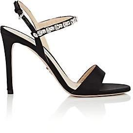 Prada Women's Crystal-Embellished Ankle-Strap Sandals-Nero