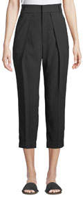 Ankle-Length Soft Pleated Volume Pants