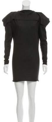 Bottega Veneta Long Sleeve Knee-Length Dress Grey Long Sleeve Knee-Length Dress