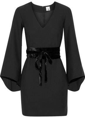 Iris & Ink Clarice Belted Velvet-Trimmed Crepe Mini Dress