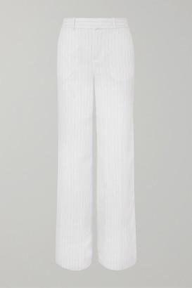 Equipment Arwen Pinstriped Linen Wide-leg Pants - White