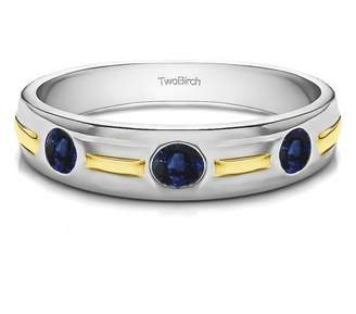TwoBirch Sapphire Mounted in Sterling Silver Sapphire Three Stone Men's Wedding Ring (0.48crt)