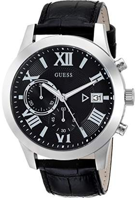 GUESS Men's Stainless Steel Chronograph Leather Casual Watch