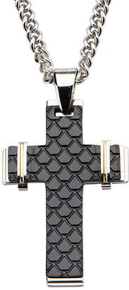 FINE JEWELRY Inox Mens Tri-Tone Stainless Steel Fish Scale Cross Pendant Necklace